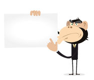 Monkey Businessman Holding A VCard Royalty Free Stock Photography