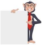 Monkey Businessman showing sheet of paper Royalty Free Stock Photo
