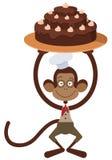 Monkey with cake Royalty Free Stock Photo