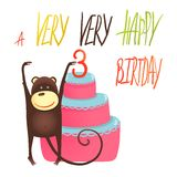 Monkey Cake Three Years Old with Happy Birthday. Funny monkey standing with cake. Vector illustration EPS10 royalty free illustration