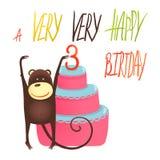 Monkey Cake Three Years Old with Happy Birthday Stock Photo