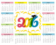 Monkey calendar. Calendar for 2016 with a symbol of the Chinese horoscope with bananas and monkey. Color. Monkey calendar. Calendar for 2016 with a symbol of Royalty Free Stock Photos