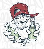 Monkey in cap holding a spray paint, vector print design for t-shirt.  stock illustration
