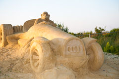 Monkey on a car. Bulgaria's third Sand Sculpture Festival will be held from the beginning of July until the end of August in the Black Sea city of Bourgas.The royalty free stock image