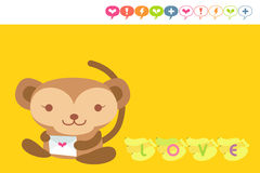 Monkey card. Cute monkey holding love letter Royalty Free Stock Photos