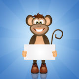 Monkey with card Royalty Free Stock Photography