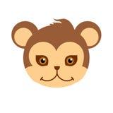Monkey Carnival Mask. Brown Primate Ape Babbon. Monkey animal carnival mask vector illustration in flat style. Brown primate ape babbon. Funny childish Royalty Free Stock Images
