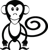 Monkey cartoon. Black and white vector illustration Stock Photo