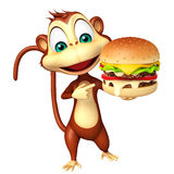 Monkey cartoon character with burger Stock Photos