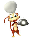 Monkey cartoon character with chef hat and cloche Royalty Free Stock Images