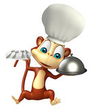 Monkey cartoon character with chef hat and dinner plate, cloche Royalty Free Stock Images