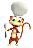 Monkey cartoon character with chef hat and spoon Royalty Free Stock Photo