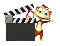 Monkey cartoon character with clapboard Royalty Free Stock Image