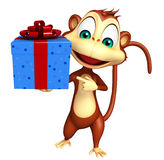 Monkey cartoon character with giftbox Royalty Free Stock Photography