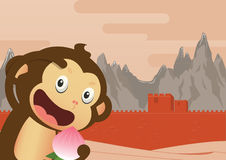 Monkey cartoon character and Great Wall of China Background. Royalty Free Stock Photography