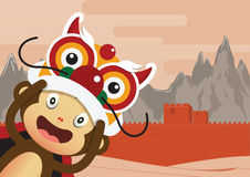 Monkey cartoon character and Great Wall of China Background. stock photo