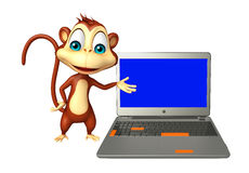 Monkey cartoon character with laptop Stock Image