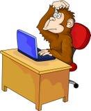 Monkey cartoon with computer Stock Image