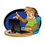 Monkey cartoon with computer Royalty Free Stock Photos