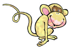 Monkey cartoon drawing humor circus. Primate mammal caricature Royalty Free Stock Image
