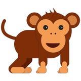 Monkey in cartoon flat style stock illustration
