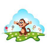 Monkey Cartoon in a garden for your design Royalty Free Stock Image