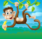 Monkey cartoon in jungle swinging on vine. An illustration of a cartoon monkey in the jungle swinging on a vine holding a banana Stock Photography