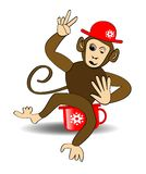 Monkey cartoon. Monkey in red hat on red potty. Monkey making victoria gesture. Cheerful monkey teetering on red potty. Winking pl Stock Photo