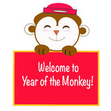 Monkey cartoon with new year message Stock Photography