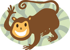 c05faec92 Monkey. Cartoon smiling monkey in stylised wilderness stock illustration
