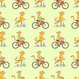 Monkey cartoon suit person background seamless pattern costume character chimpanzee happiness man flat vector Royalty Free Stock Image