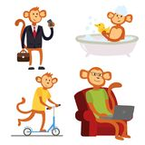 Monkey cartoon suit person costume character chimpanzee happiness man flat vector illustration Stock Photography
