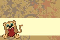 Monkey  cartoon valentine wallpaper Royalty Free Stock Photos