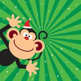 Monkey celebrate christmas Stock Photo