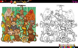 Monkey characters coloring book Royalty Free Stock Photo