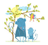 Monkey Characters Mother and Child in the Wild Royalty Free Stock Images
