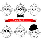 Monkey, chimp face, icons Stock Image
