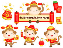 Monkey in Chinese New Year Costume stock illustration