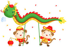 Monkey Chinese New Year Dragon Dance. A vector set of chinese new year monkey playing dragon dance royalty free illustration