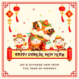 Monkey Chinese New Year Greeting Card Stock Image