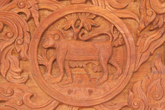Monkey Chinese zodiac animal sign. Wood carving of monkey Chinese zodiac animal sign stock photography
