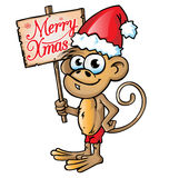 Monkey christmas  cartoon Royalty Free Stock Photo