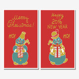 Monkey in Christmas hat. Symbol in 2016.Set of Christmas cards with a funny cartoon monkey and deer Stock Illustration
