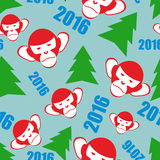 Monkey and a Christmas tree. New year 2016 seamless. Vector Holiday background.  Symbols of  new year Royalty Free Stock Image