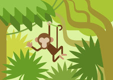 Monkey climber tree branch jungle flat cartoon vector animal. Monkey on the climber tree branch jungle flat design cartoon vector wild animals. Flat zoo nature Royalty Free Stock Images