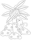Monkey climbing a banana tree coloring page Stock Photos