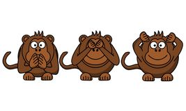 Hear, Speak, And See No Evil stock illustration