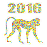 Monkey 2016 from colored dots on the white background . It may be used for design of a t-shirt, bag, postcard, a poster and so on. Monkey as a symbol of 2016 in Stock Photos