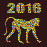 Monkey 2016 from colored dots on the white background . It may be used for design of a t-shirt, bag, postcard, a poster and so on. Monkey as a symbol of 2016 in Royalty Free Stock Images