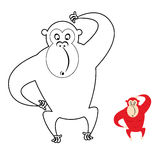Monkey coloring book. Red monkey makes surprise muzzle. Funny pr Stock Image
